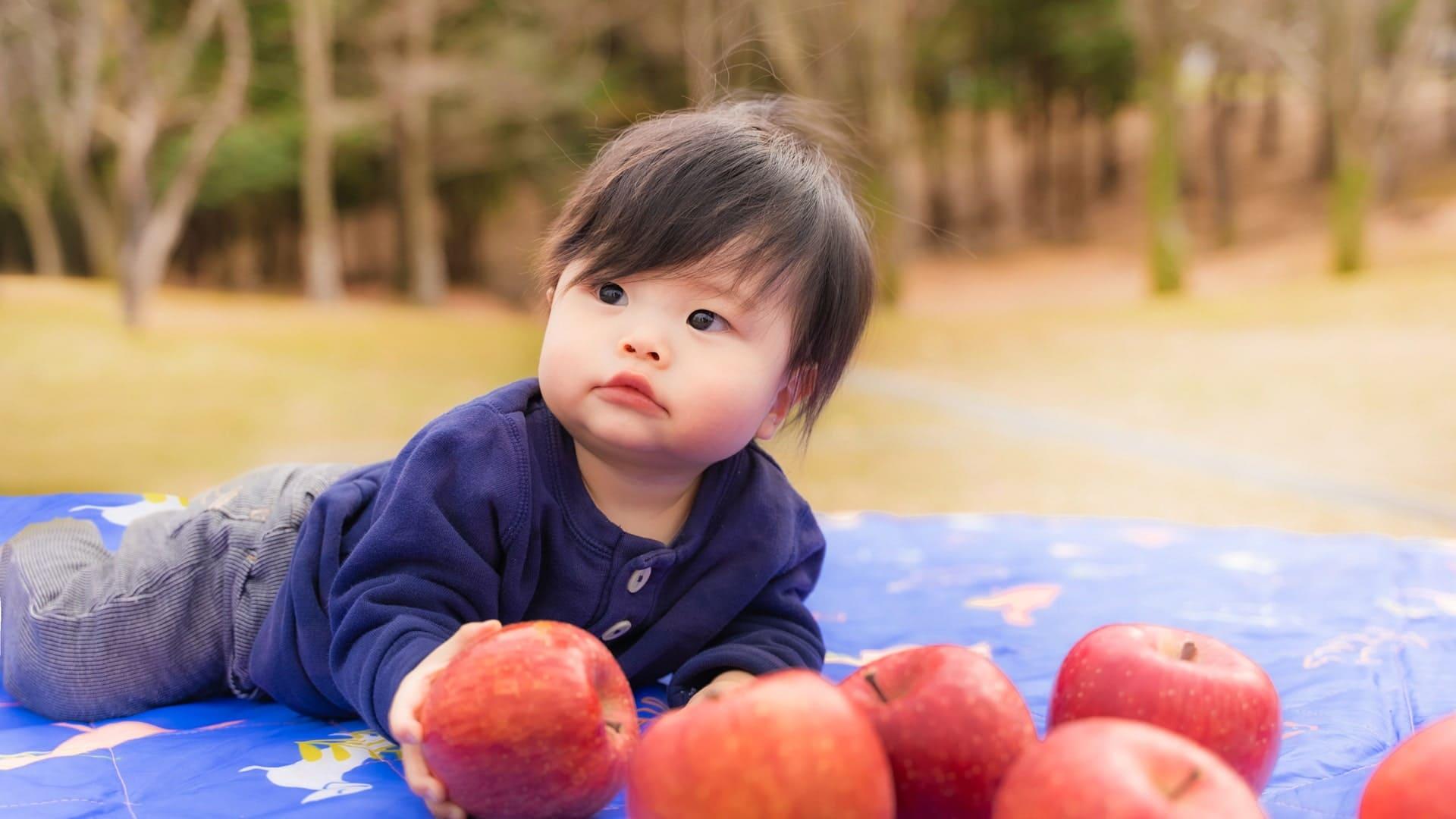 有限会社あおぞらが通販している東北の特産品、津軽産りんごと子供の写真
